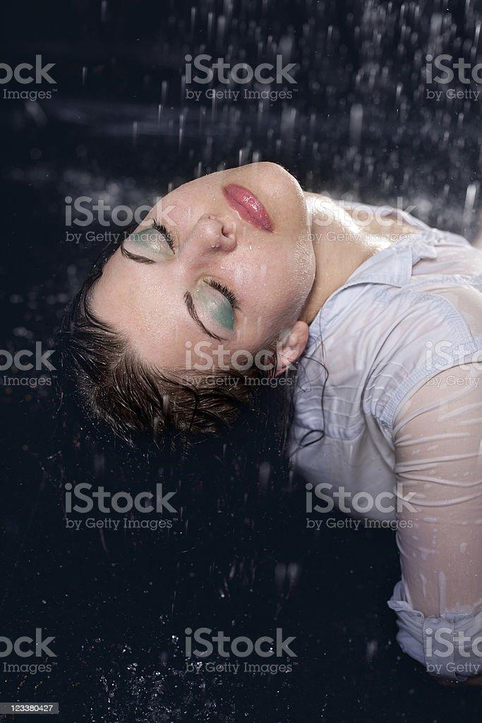 beautiful girl in the rain royalty-free stock photo