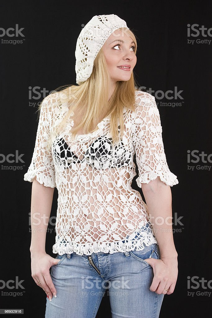 Beautiful girl in white beret and knitted jacket. royalty-free stock photo