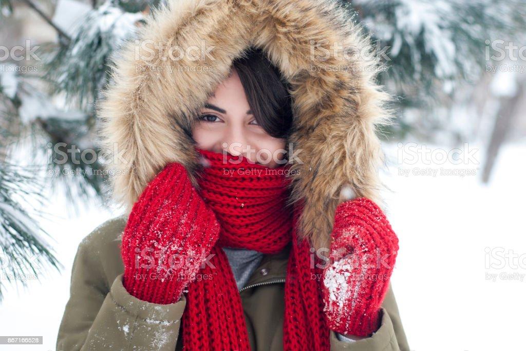 Beautiful girl in winter time stock photo