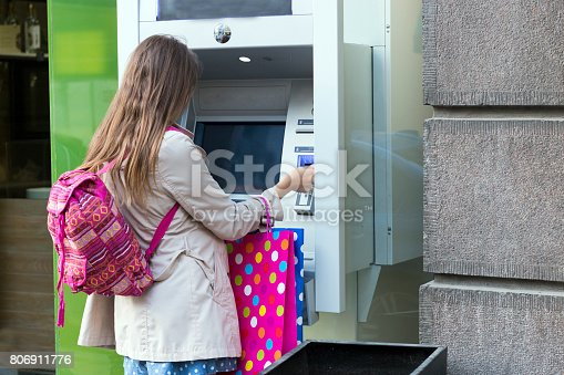 945598452 istock photo Beautiful girl inserting a credit card to ATM machine 806911776