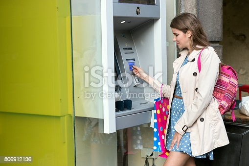 945598452 istock photo Beautiful girl inserting a credit card to ATM machine 806912136