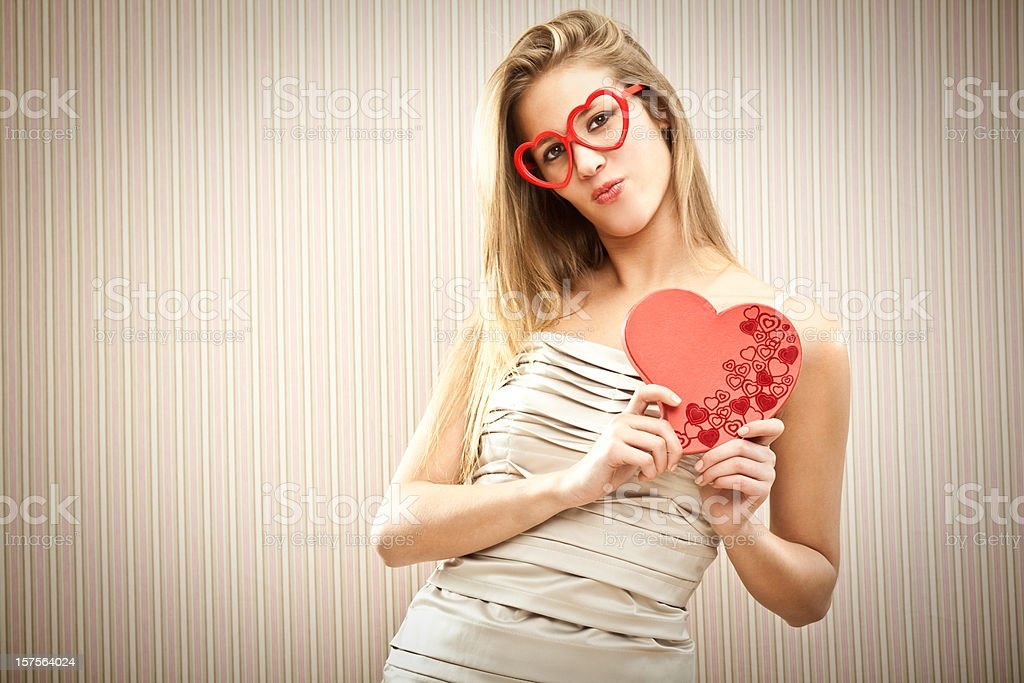 Beautiful girl is dreaming her love royalty-free stock photo