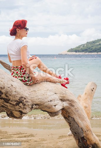 The beautiful girl with sunglasses and red shoes is sitting on an old log on the beach of Island Mljet with coastline for background.