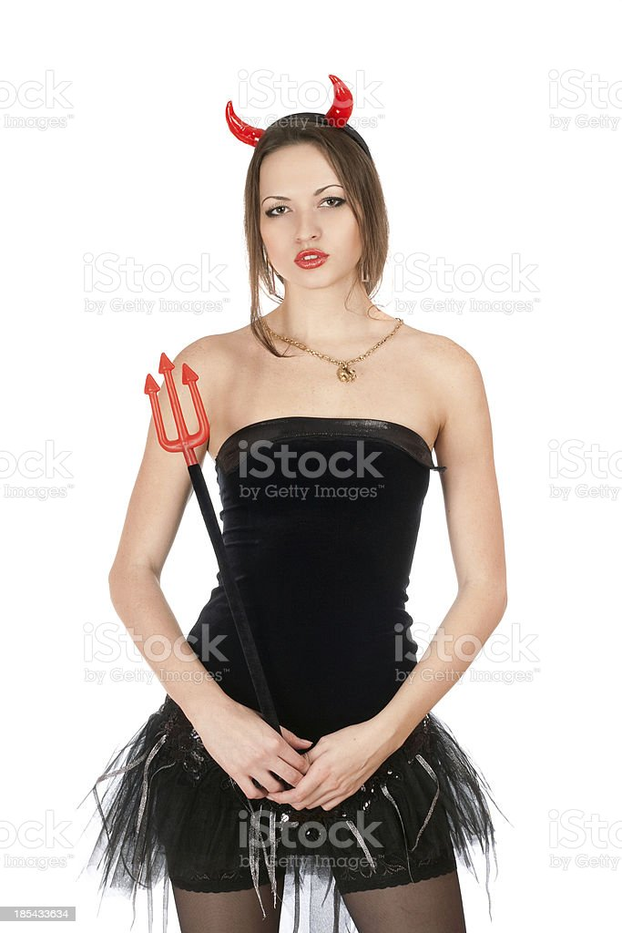 Beautiful girl is wearing a devil costume royalty-free stock photo