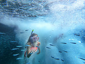 Vacation concept when snorkeling in the sea.