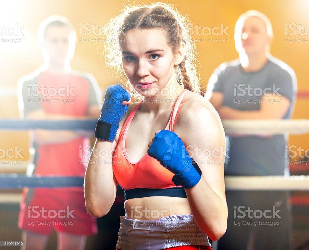 Beautiful Girl Kickboxer stock photo