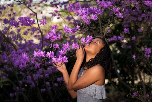 Beautiful Girl Kissing Purple Azalea