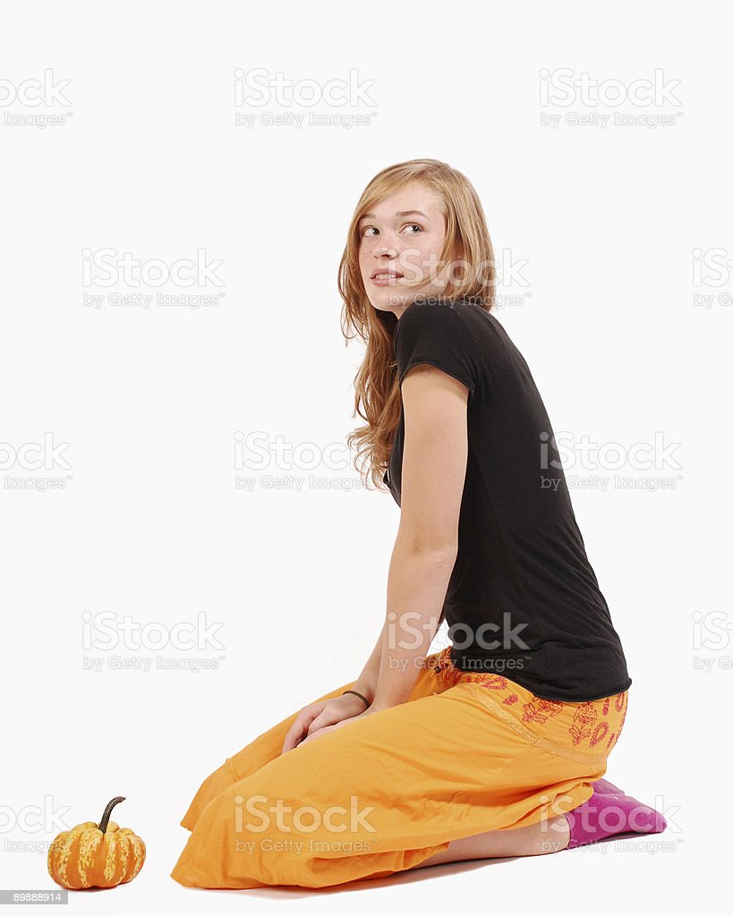 Beautiful girl kneeling royalty-free stock photo
