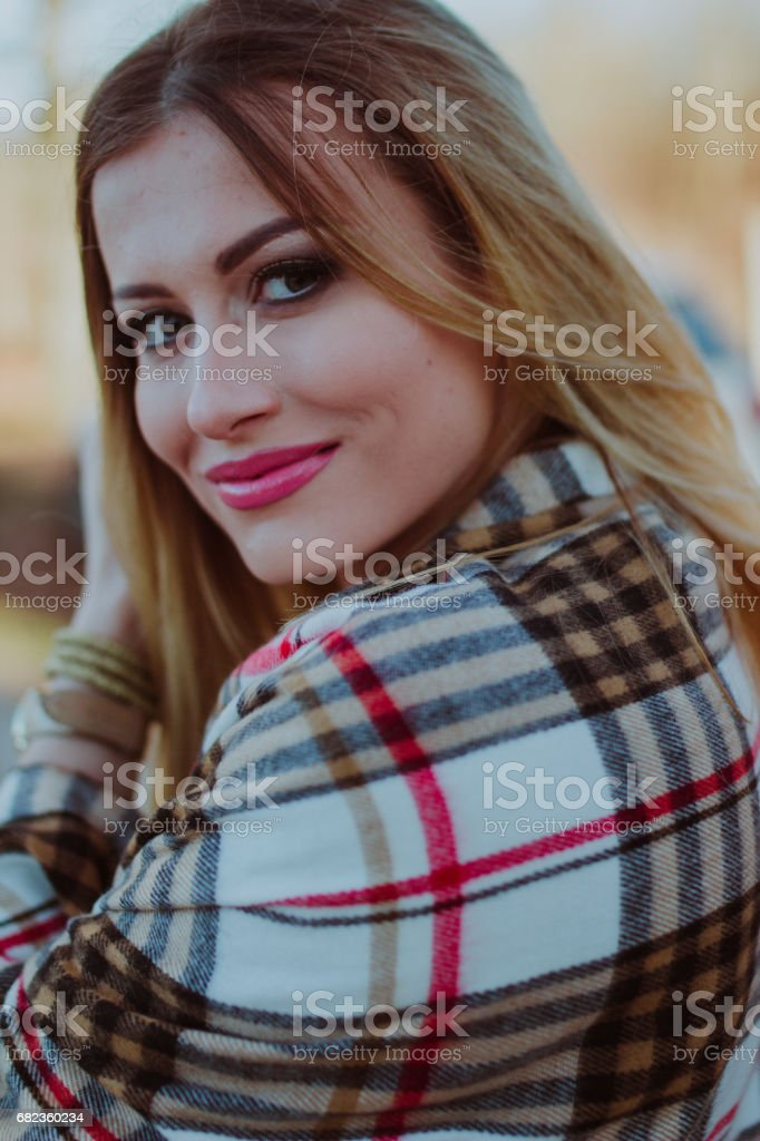 Beautiful girl looking back with a little smile zbiór zdjęć royalty-free