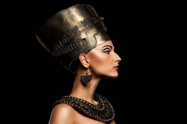 beautiful girl looks like nefertiti stock photo