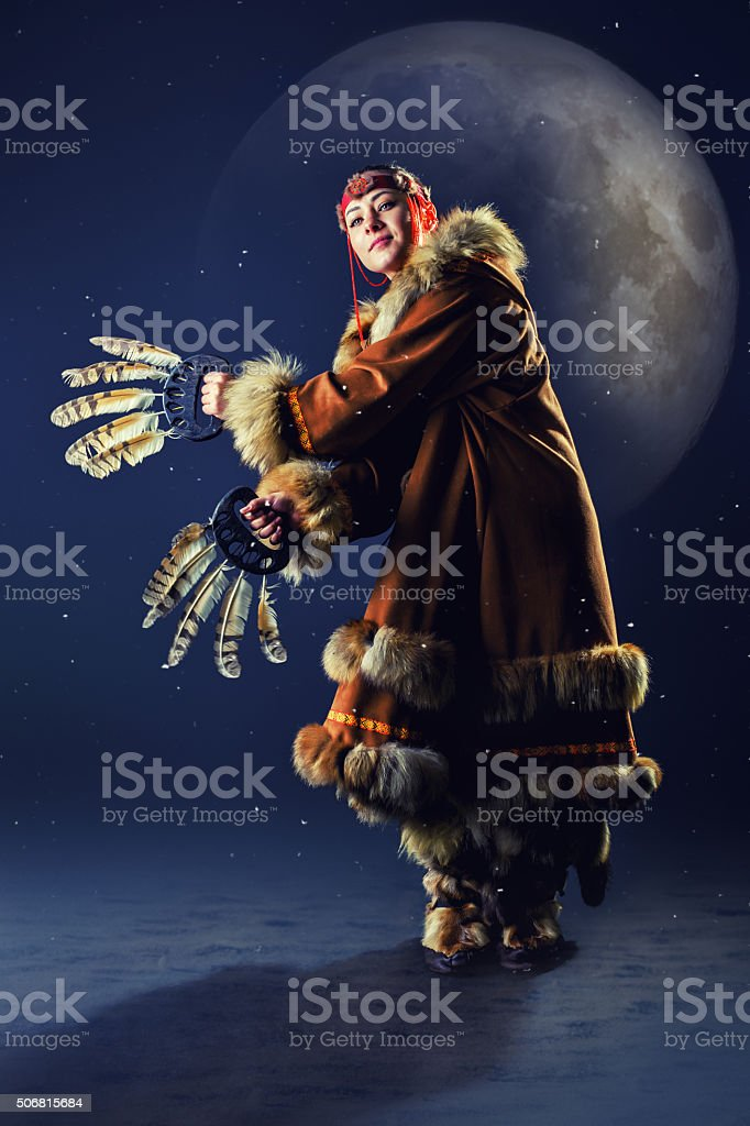 Beautiful girl of the North in the blue night stock photo