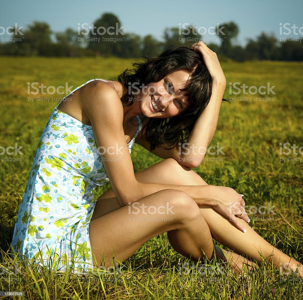 Beautiful Girl on a Meadow royalty-free stock photo