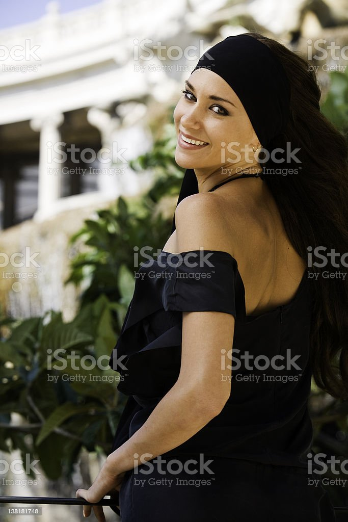 Beautiful girl on a park stock photo