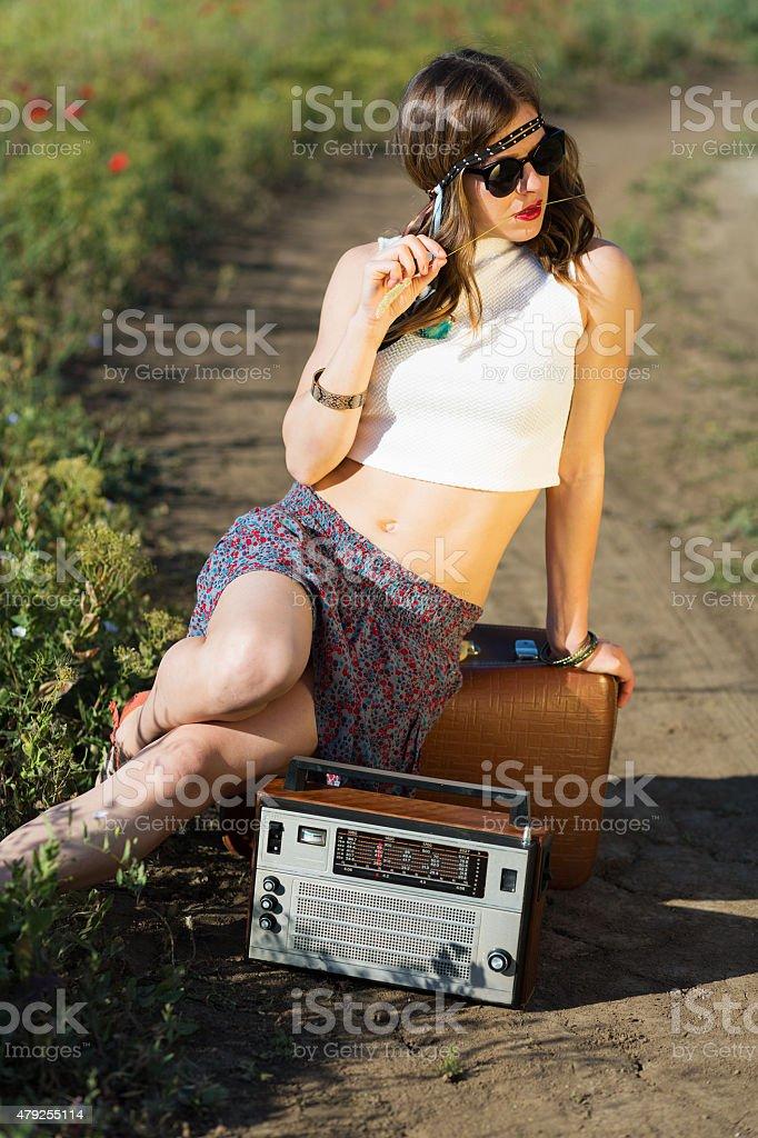 Beautiful girl on a road stock photo