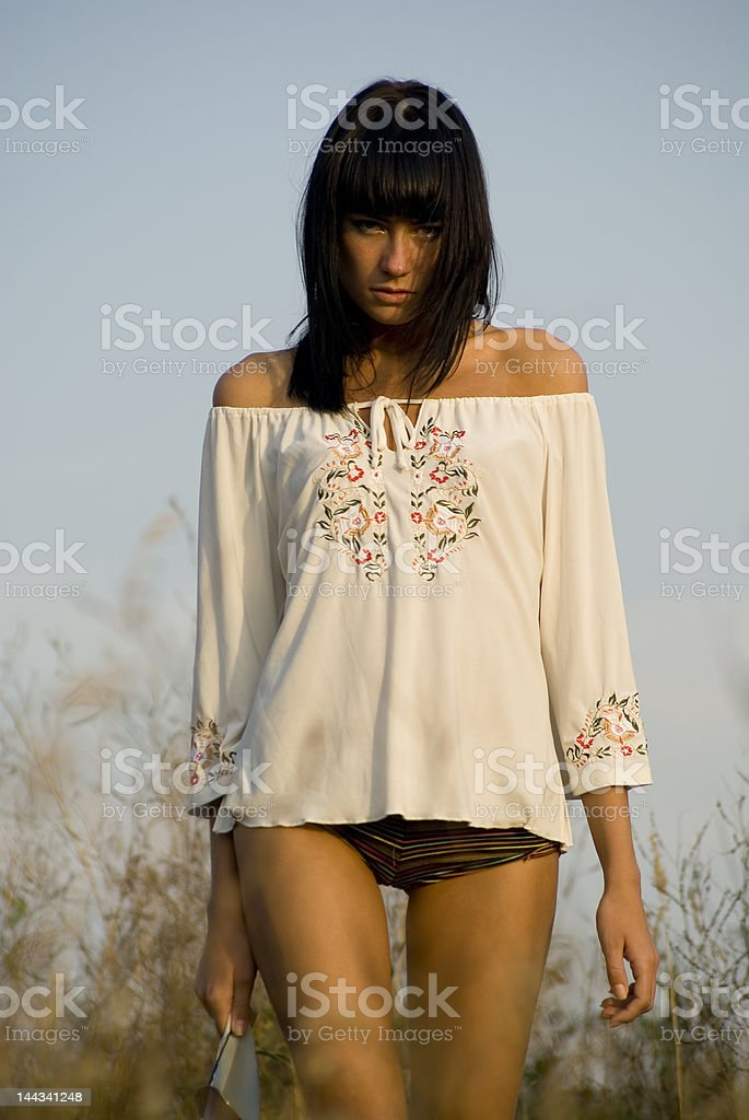 Beautiful girl on the ground royalty-free stock photo