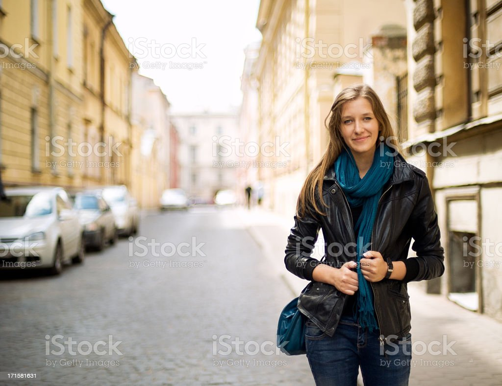 Beautiful girl on the street stock photo