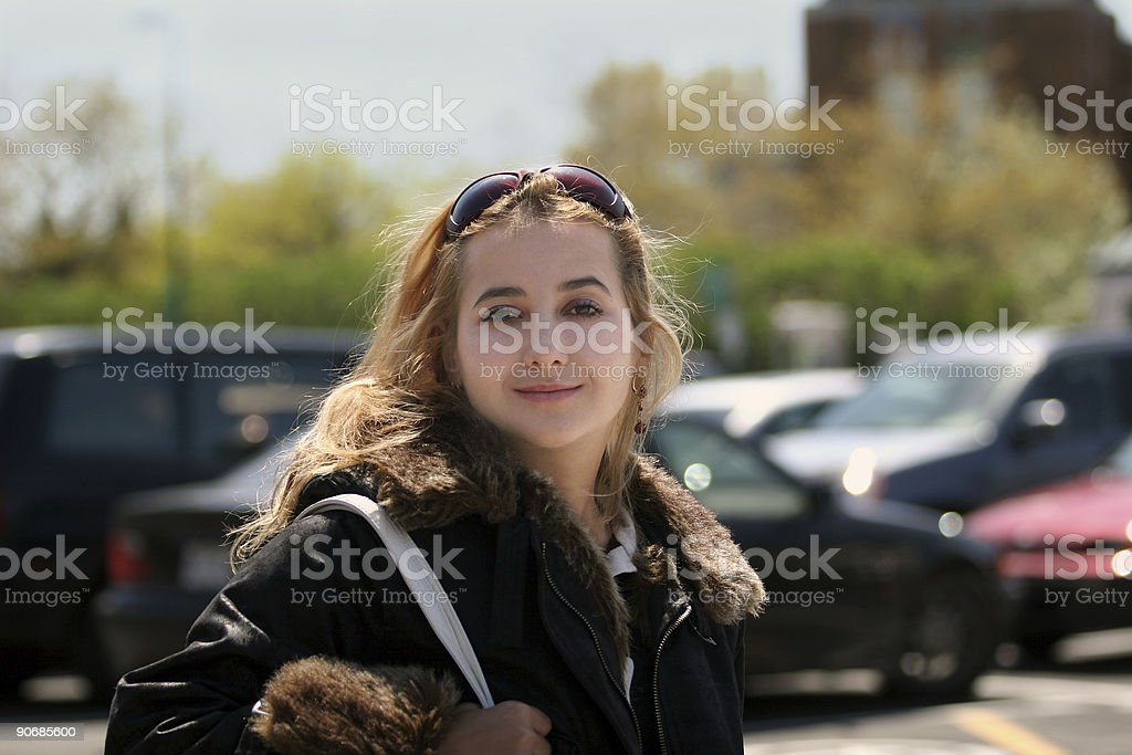 Beautiful girl on the street royalty-free stock photo