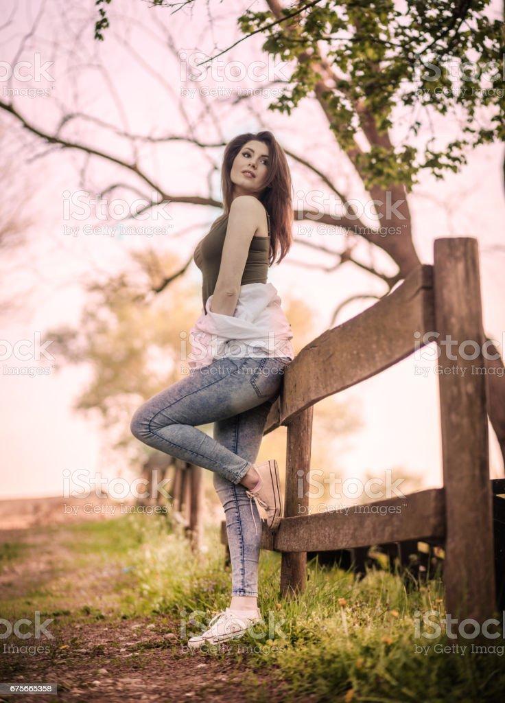Beautiful  girl outdoors enjoying nature royalty-free stock photo