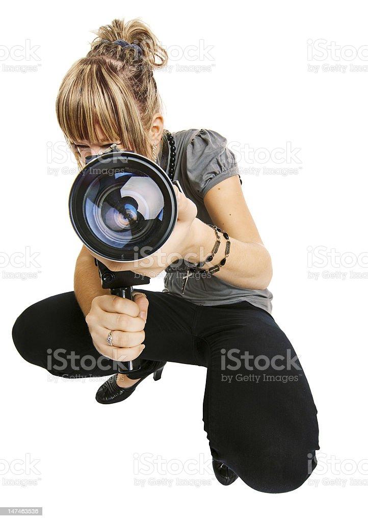 beautiful girl photographer isolated on white background royalty-free stock photo