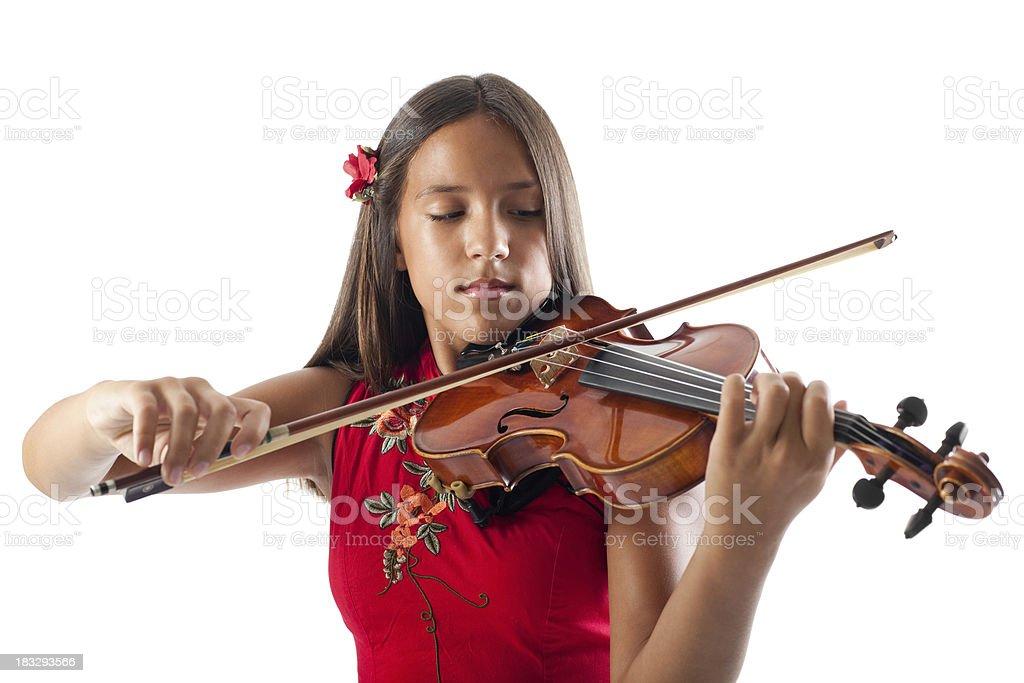 Beautiful girl playing violin royalty-free stock photo