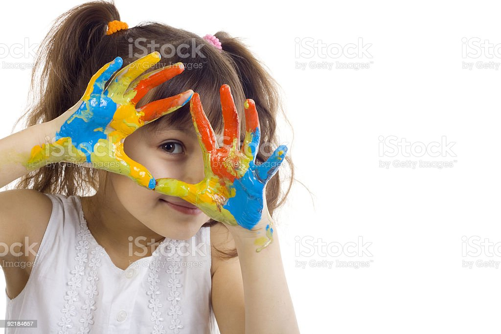 beautiful girl playing with colors stock photo