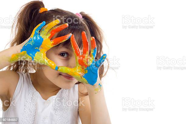 Beautiful Girl Playing With Colors Stock Photo - Download Image Now