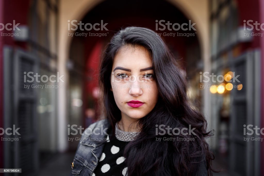 Beautiful girl portrait in the street stock photo