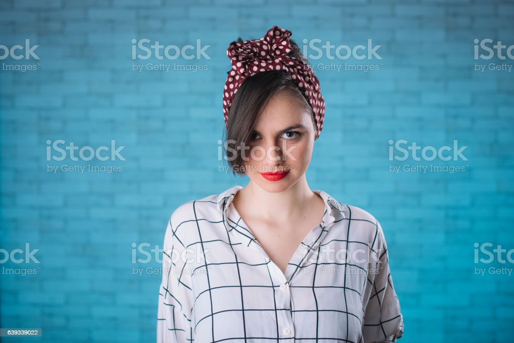 Beautiful girl posing in vintage clothing stock photo