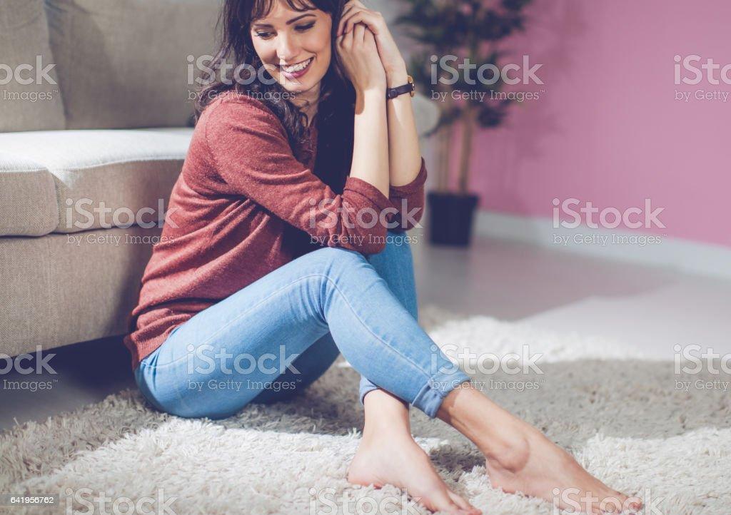 Beautiful girl posing indoors stock photo