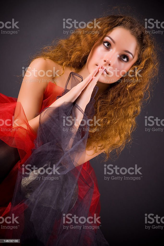 Beautiful girl praying royalty-free stock photo