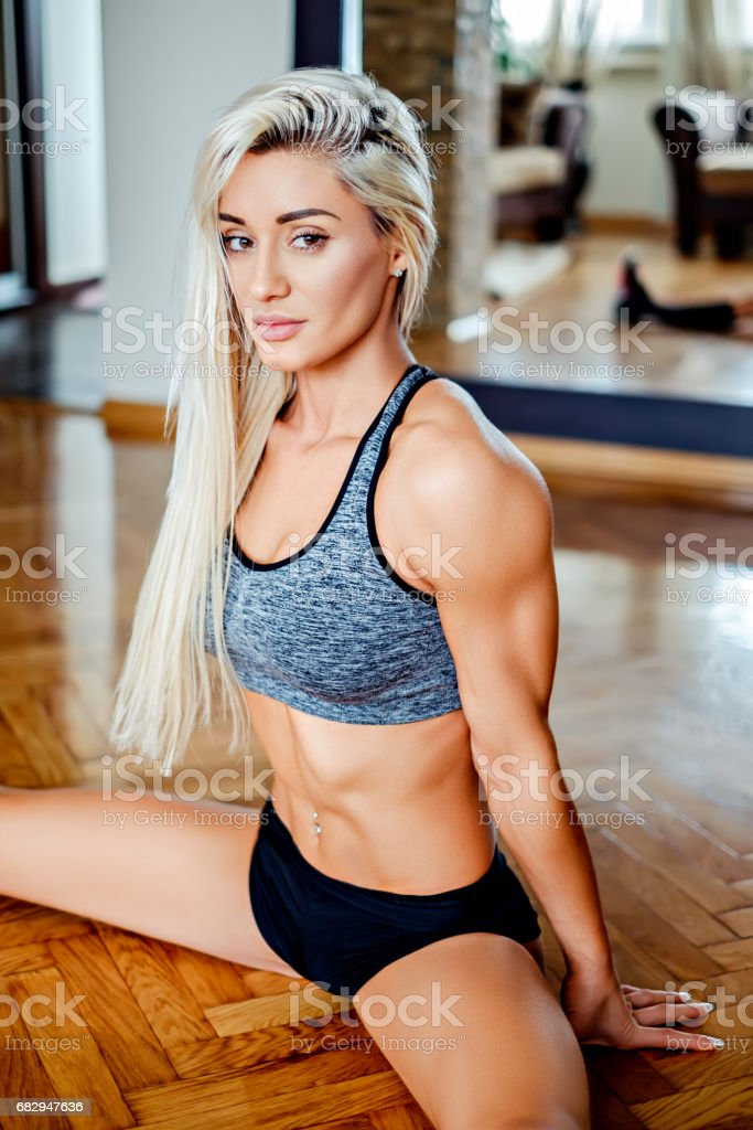 Beautiful girl resting in split position royalty-free stock photo