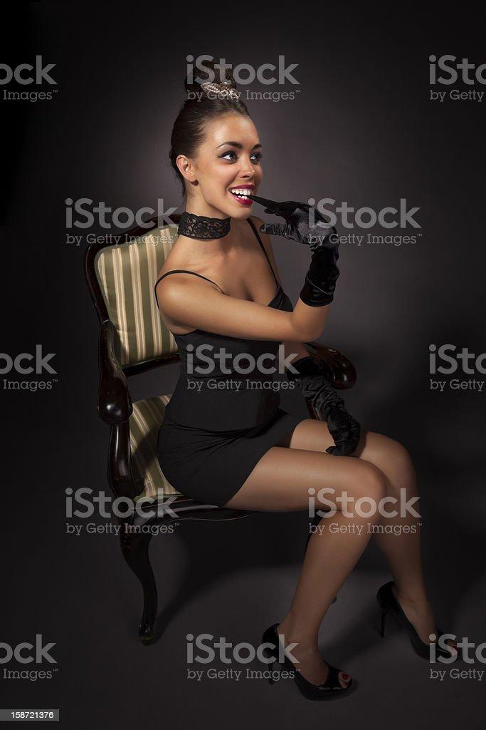 Beautiful girl retro style portrait royalty-free stock photo