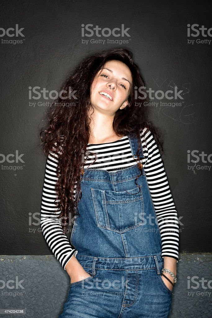 Beautiful girl ring flash portrait stock photo