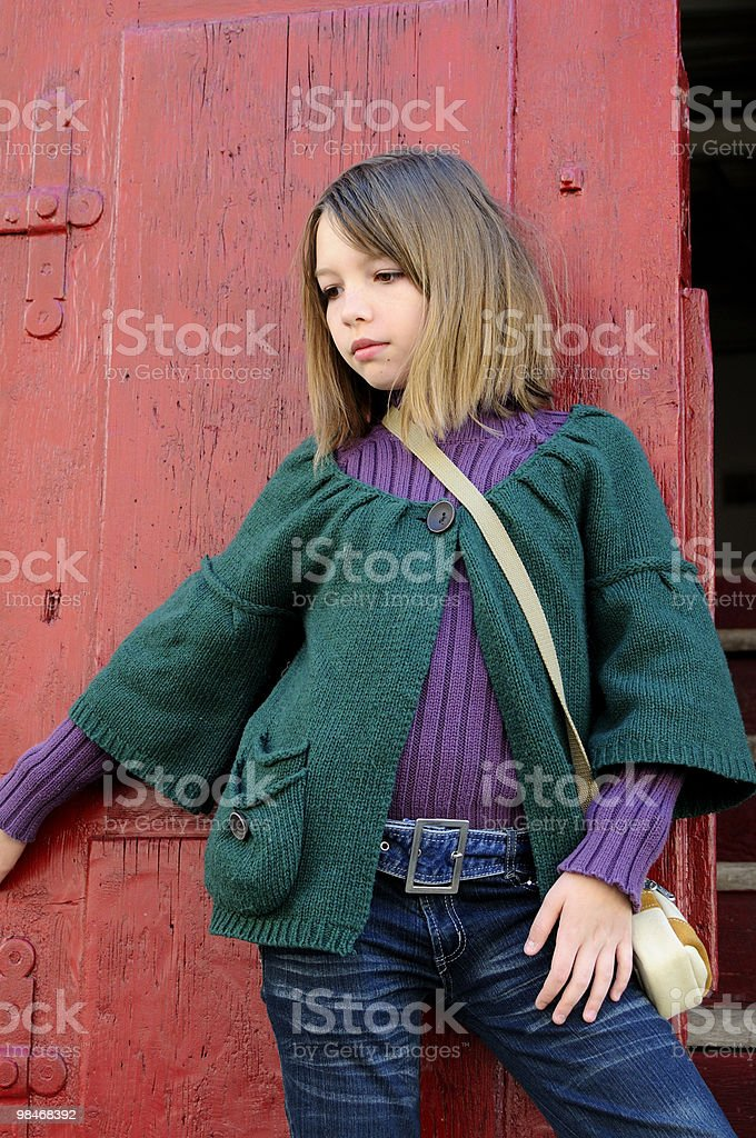 beautiful girl showing spring collection royalty-free stock photo