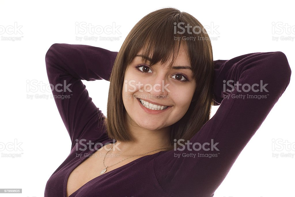 beautiful girl smiling on a white royalty-free stock photo