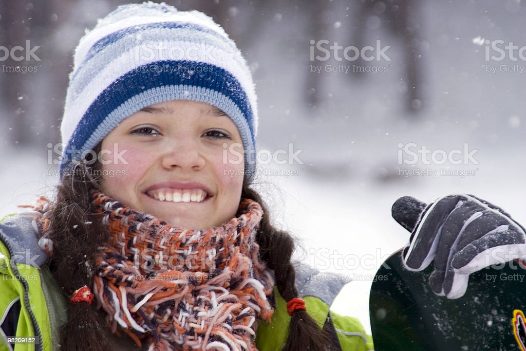 Beautiful girl snowborder royalty-free stock photo