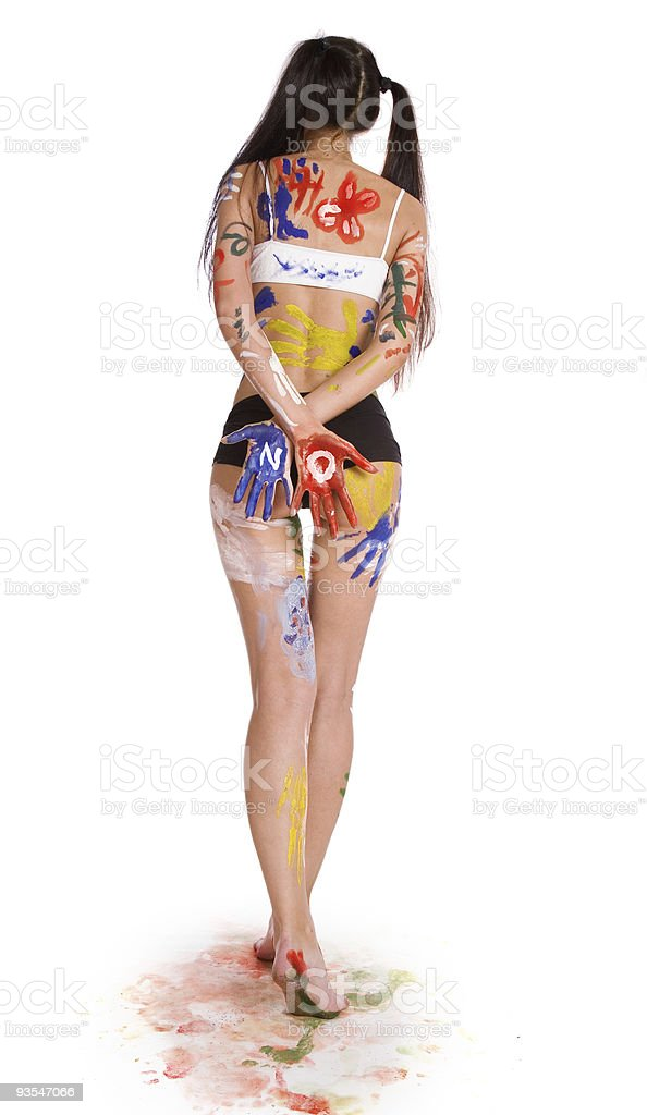 Beautiful girl, stained paint royalty-free stock photo