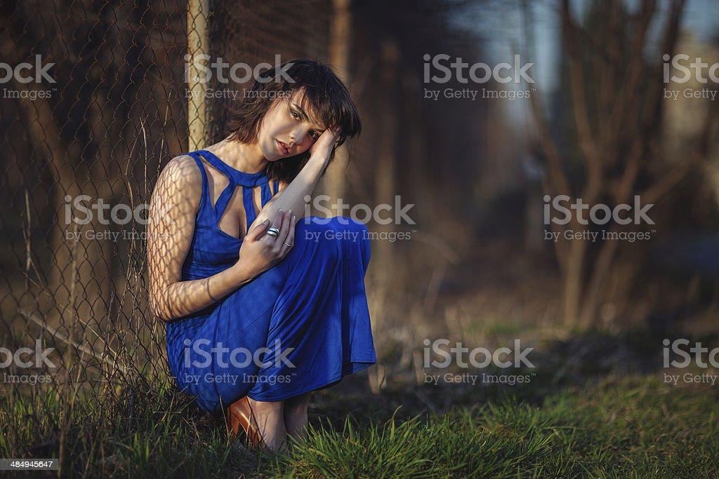 Beautiful girl suffers. royalty-free stock photo