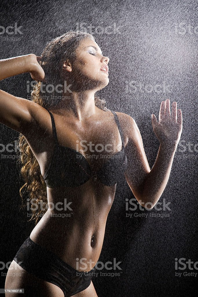 Beautiful girl taking shower royalty-free stock photo