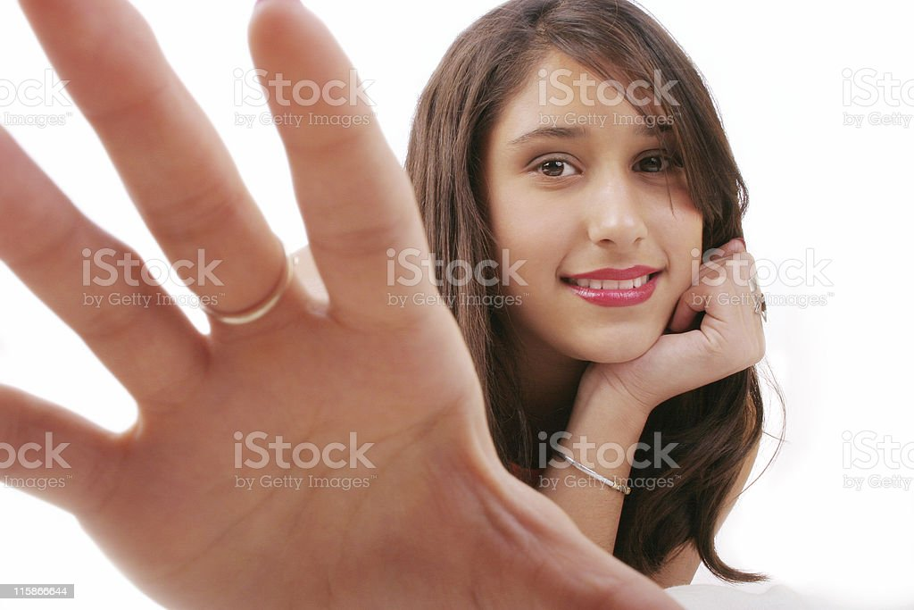 Beautiful girl trying to catch you 1 royalty-free stock photo