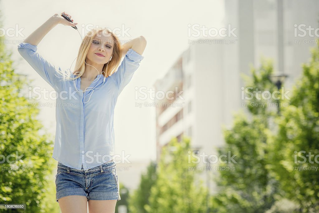 Beautiful girl urban park portarit royalty-free stock photo