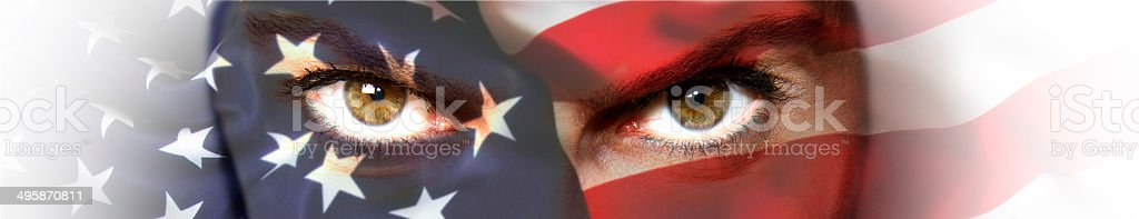 Beautiful girl USA flag face painted stock photo
