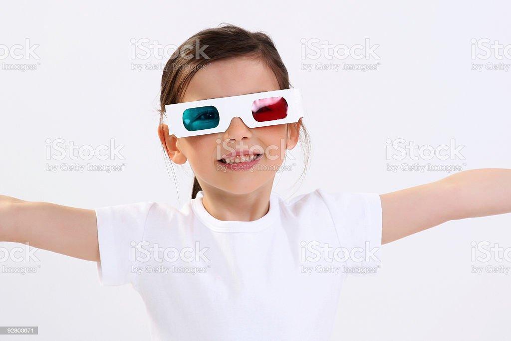 Beautiful girl wearing 3D glasses stock photo