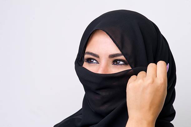 Beautiful girl wearing burqa closeup stock photo