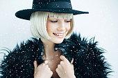 istock Beautiful girl wearing hat 611205240