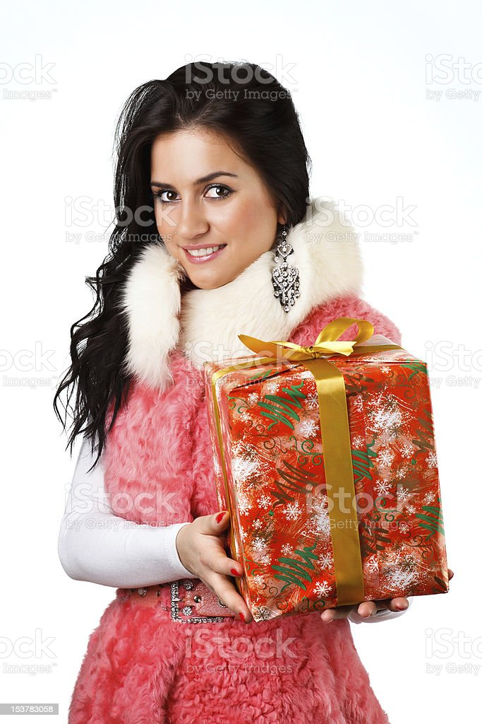 beautiful girl with a gift royalty-free stock photo