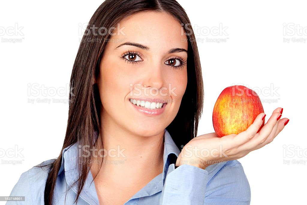 Beautiful girl with a red apple stock photo