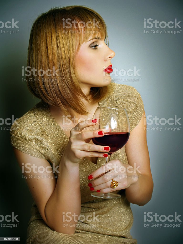 beautiful girl with a red wine glass royalty-free stock photo