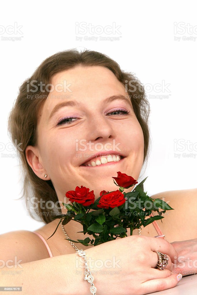 beautiful girl with a rose royalty free stockfoto