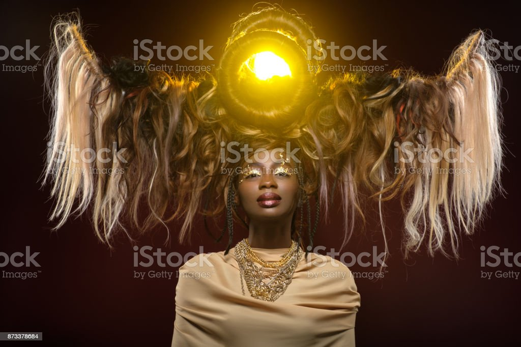 beautiful girl with art hair composition stock photo